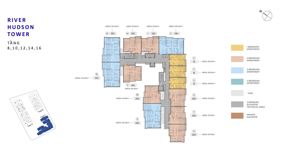 Mặt bằng tầng Block Hudson Tower